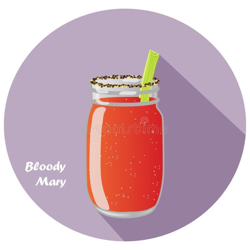 Иллюстрация вектора водочки кровопролитной Mary и коктеиль сока томата в опарнике каменщика с сельдереем гарнируют и длинная тень иллюстрация штока
