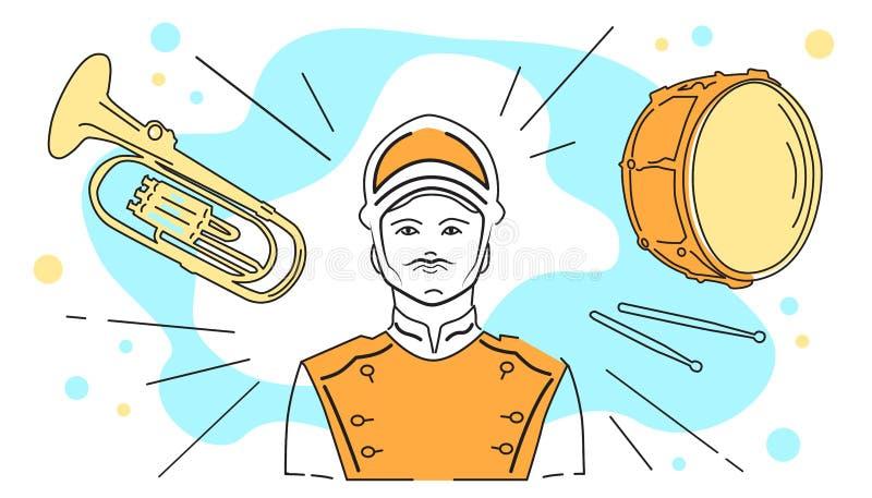 Иллюстрация вектора военного оркестра, музыканта в форме, барабанчика и трубы, выстукивания и аппаратур ветра иллюстрация вектора