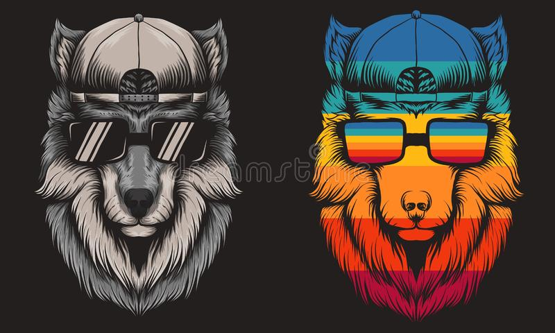 Иллюстрация вектора волка крутая ретро стоковое фото