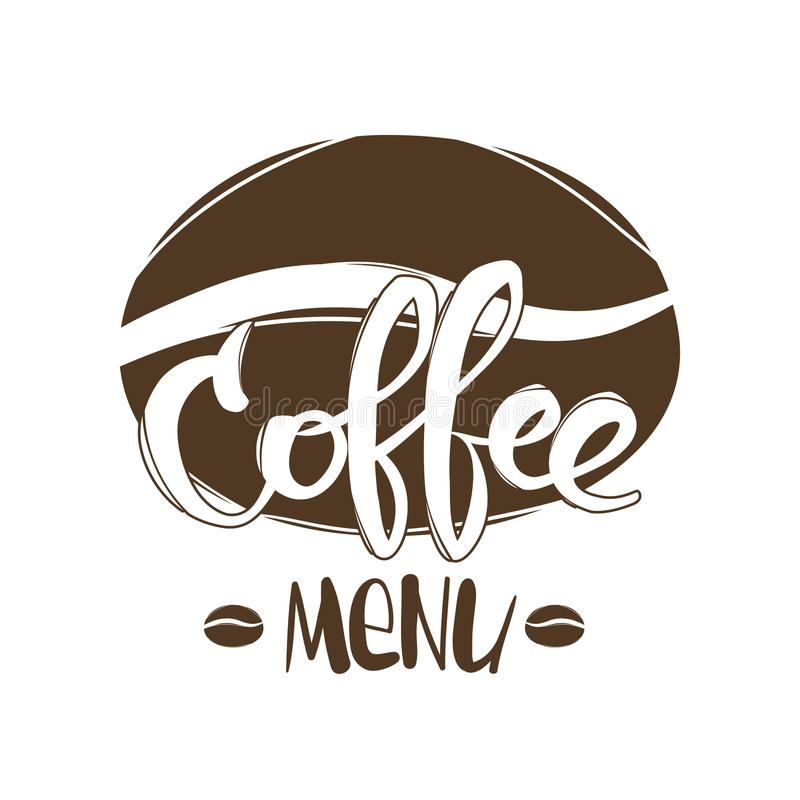 Иллюстрация вектора: Вручите вычерченную сцену с рукописной литерностью меню и фасолей кофе изолированных на белой предпосылке иллюстрация штока