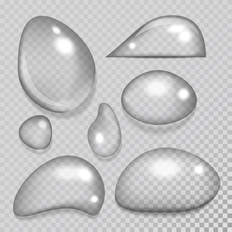 Иллюстрация вектора выплеска дождевой капли реалистических падений воды жидкостная прозрачная иллюстрация штока