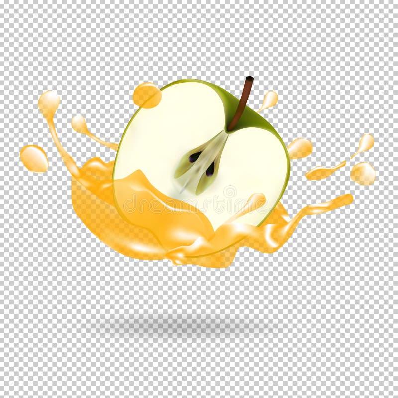 Иллюстрация вектора выплеска фруктового сока Яблока реалистическая иллюстрация штока