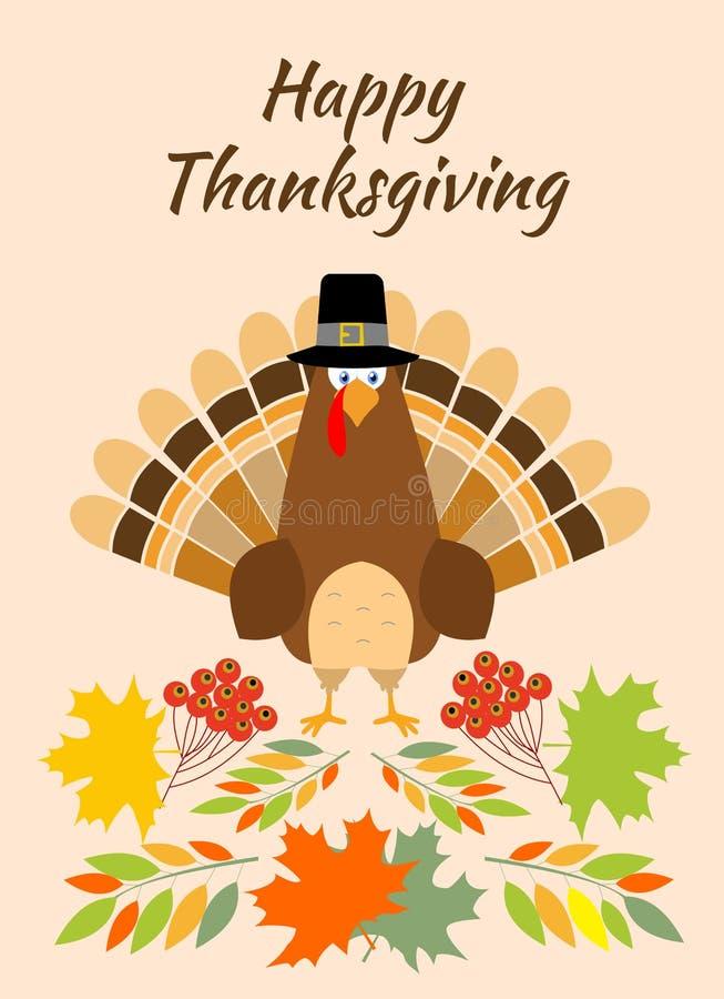 Шляпа паломника птицы индюка поздравительной открытки благодарения Смешной праздник персонажа из мультфильма иллюстрация штока