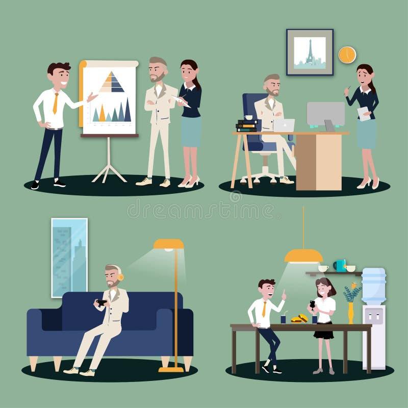 Иллюстрация вектора в плоском стиле женщин, людей и босса работников команды офиса в форме в конференц-зале иллюстрация штока