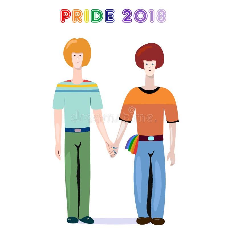 Иллюстрация вектора гей-парада 2018 - пары мальчиков с радугой lgbt сигнализируют иллюстрация вектора