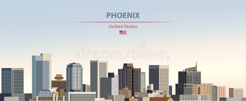 Иллюстрация вектора горизонта города Феникса на предпосылке неба дня красочного градиента красивой с флагом Соединенных Штатов бесплатная иллюстрация