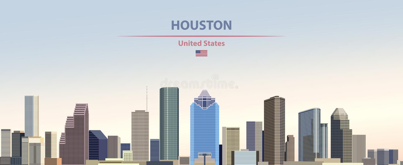 Иллюстрация вектора горизонта города Хьюстон на предпосылке неба дня красочного градиента красивой с флагом Соединенных Штатов иллюстрация вектора
