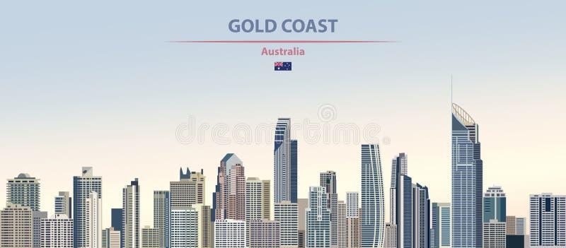Иллюстрация вектора горизонта города Gold Coast на предпосылке времени дня красочного градиента красивой бесплатная иллюстрация