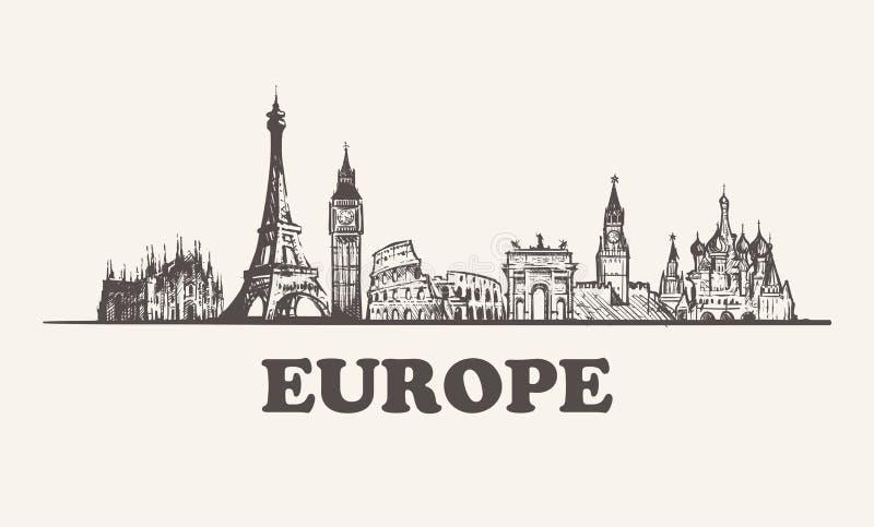 Иллюстрация вектора горизонта Европы винтажная, здания руки вычерченные иллюстрация штока