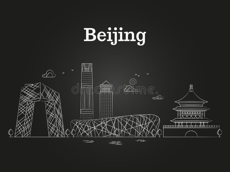 Иллюстрация вектора горизонта Китая Пекина линейная панорамная - азиатский ландшафт города иллюстрация штока