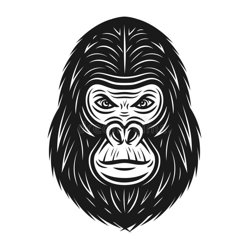 Иллюстрация вектора гориллы главная в винтажном стиле иллюстрация вектора