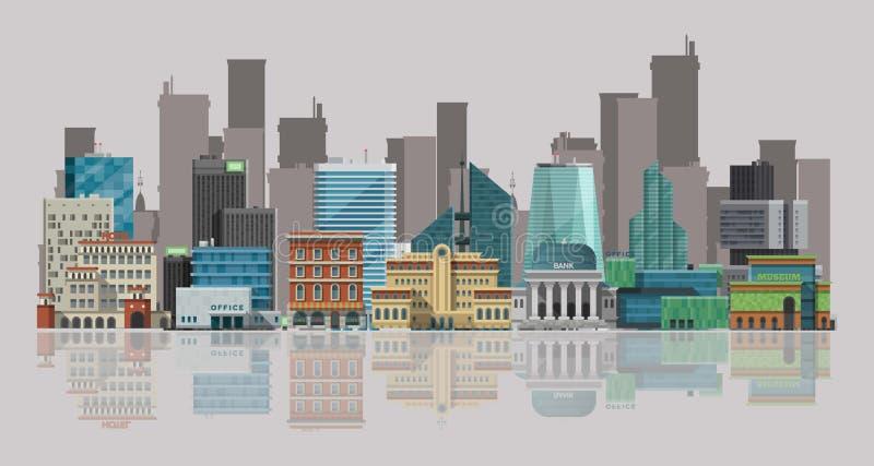 Иллюстрация вектора городского пейзажа Городской ландшафт с большими современными зданиями и skyscrappers отражая в воде Улицы иллюстрация штока