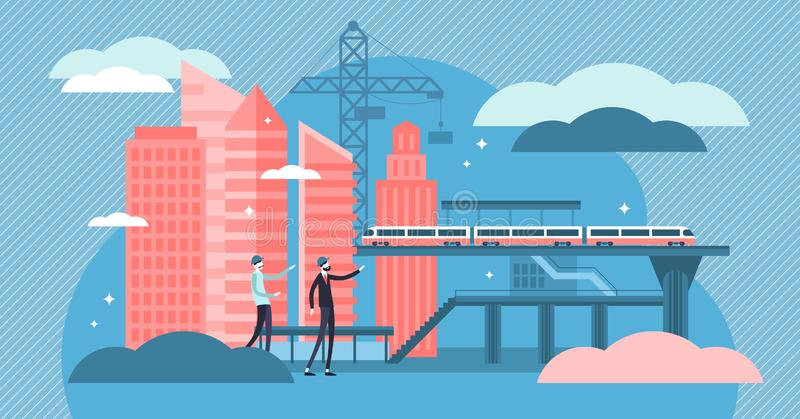 Иллюстрация вектора гражданского строительства Крошечная концепция человека работы конструкции иллюстрация штока