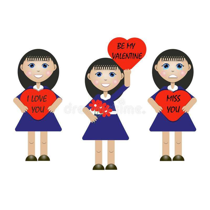 Иллюстрация вектора девушки с сообщениями бесплатная иллюстрация