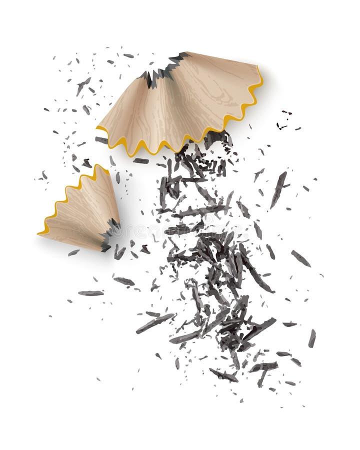 Иллюстрация вектора деревянных shavings карандаша графита от заточника изолированного на предпосылке бесплатная иллюстрация