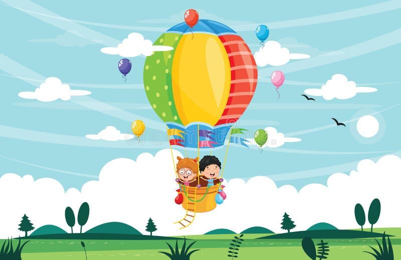 Иллюстрация вектора детей ехать горячий воздушный шар бесплатная иллюстрация