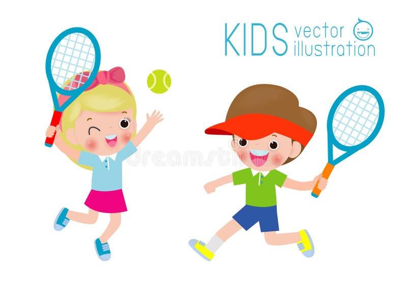 Иллюстрация вектора детей играя теннис изолированная на белой иллюстрации вектора предпосылок иллюстрация вектора