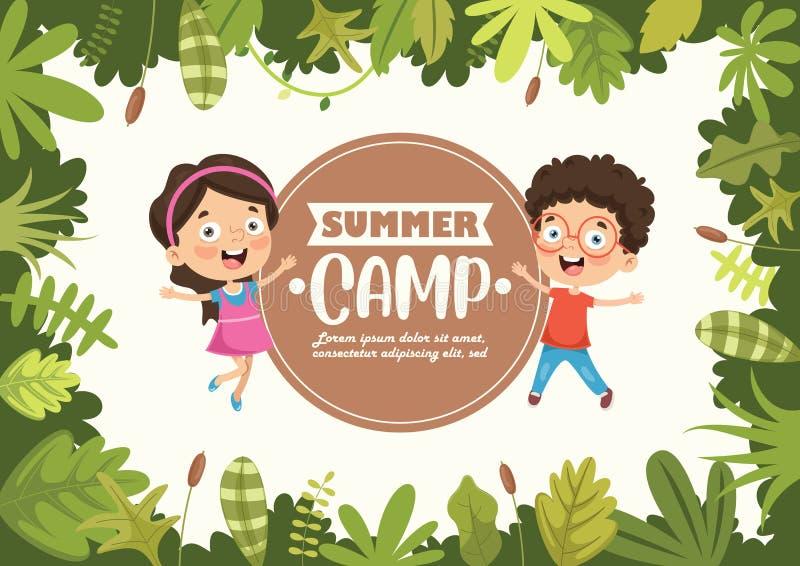 Иллюстрация вектора детей летнего лагеря бесплатная иллюстрация