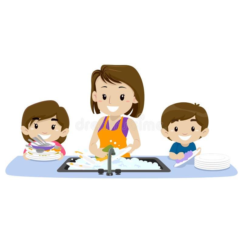 Иллюстрация вектора 2 детей помогая их матери моя блюда иллюстрация штока