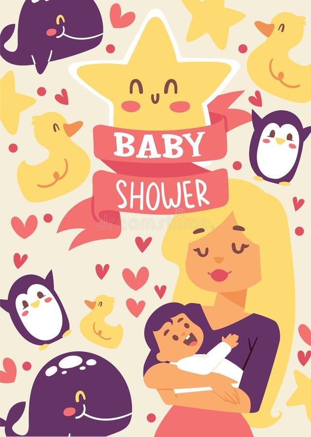 Иллюстрация вектора детского душа чертеж младенца ее план мати удерживания маленький Усмехаясь мама с жизнерадостным ребенк Милая иллюстрация вектора
