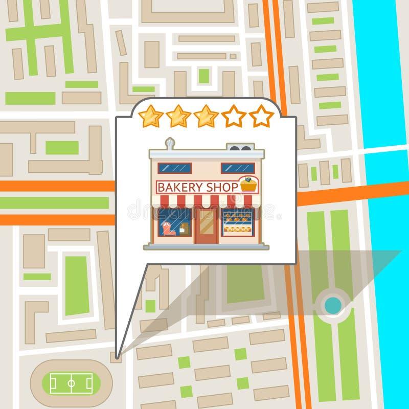 Иллюстрация вектора дизайна городка ориентир ориентира населенного пункта городского типа дорожной карты улицы города плоская иллюстрация штока
