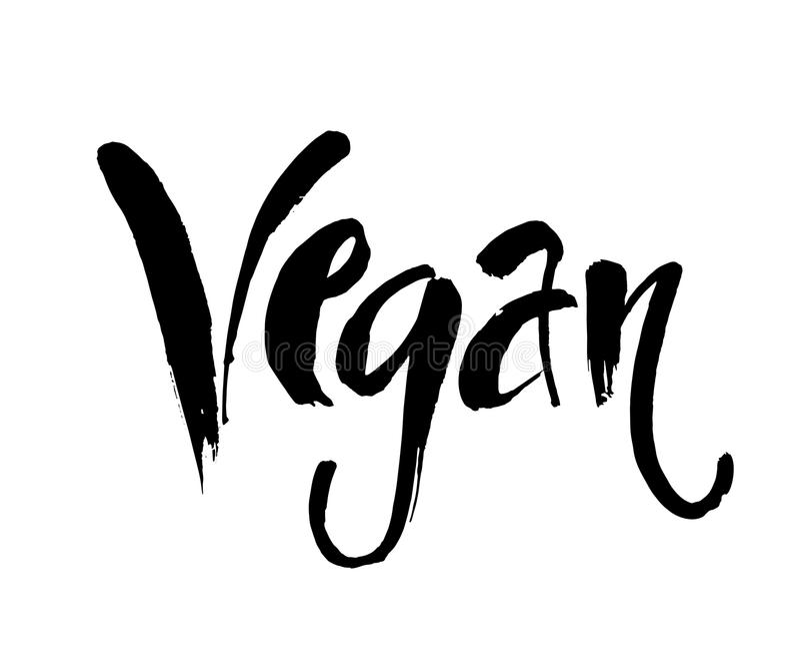 Иллюстрация вектора дизайна концепции еды Vegan Рукописная литерность щетки для ресторана, меню кафа каллиграфическо иллюстрация штока