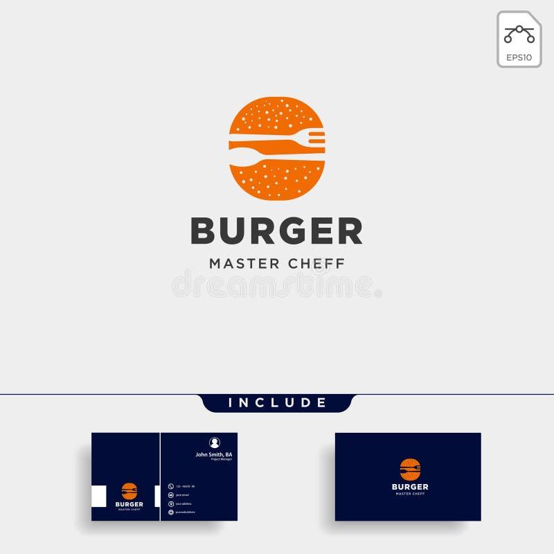 иллюстрация вектора дизайна логотипа вилки ложки бургера простая плоская бесплатная иллюстрация