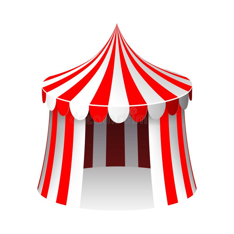 Иллюстрация вектора дизайна мультфильма 3d шатра цирка изолированная реалистическая иллюстрация вектора