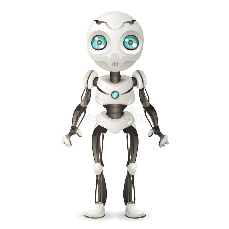Иллюстрация вектора дизайна научной фантастики 3d технологии scifi робота талисмана искусственного интеллекта будущая механическа иллюстрация штока