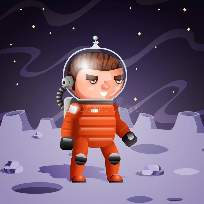 Иллюстрация вектора дизайна предпосылки луны мультфильма плаката космонавта планеты космоса иллюстрация вектора