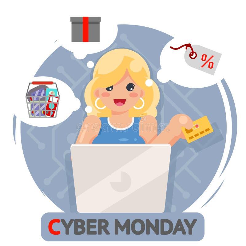 Иллюстрация вектора дизайна продажи понедельника кибер кредитной карточки девушки онлайн покупок компьтер-книжки милая иллюстрация вектора