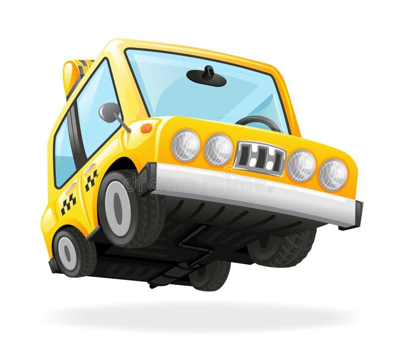 Иллюстрация вектора дизайна 3d автомобиля транспорта кабины желтого цвета значка автомобиля такси городским изолированная значком иллюстрация штока