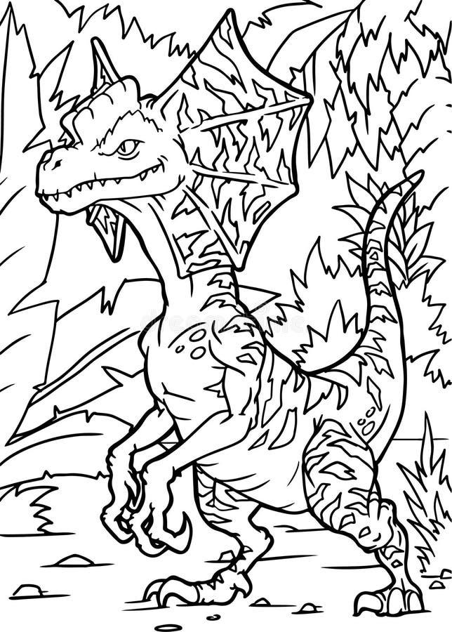 Иллюстрация вектора динозавра книжка-раскраски стоковые изображения