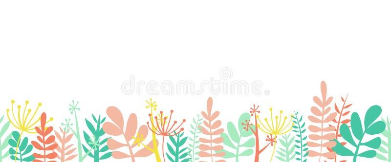 Иллюстрация вектора дна рамки границы лета листьев горизонтальная безшовная Цветки, листья и стержни украсили границу иллюстрация вектора