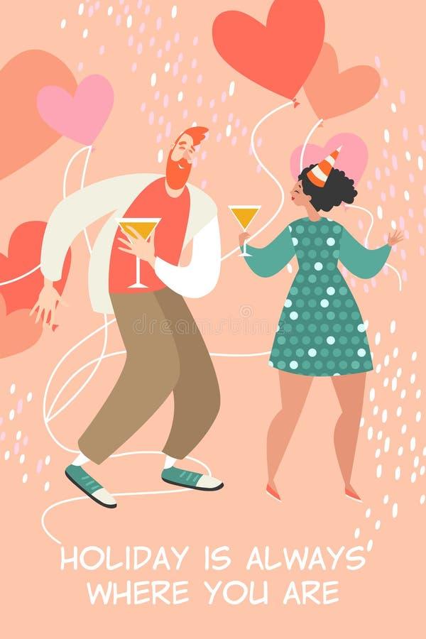 Иллюстрация вектора дня Святого Валентина со счастливыми танцами пар и выпивая вином бесплатная иллюстрация