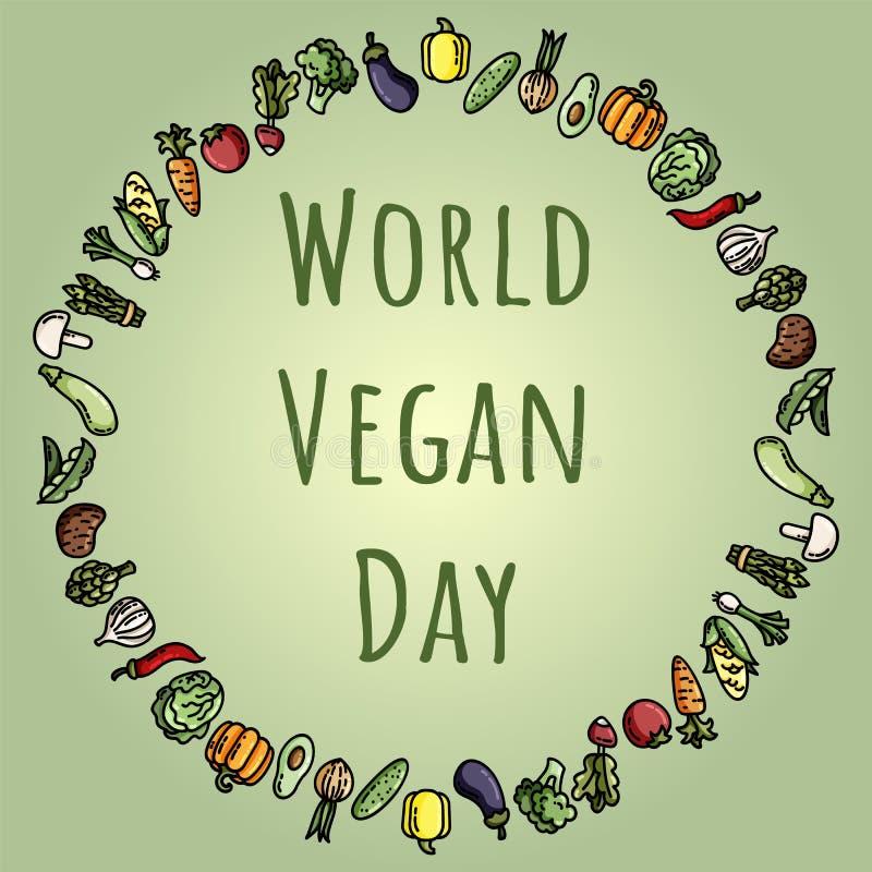 Иллюстрация вектора дня vegan мира Соответствующий для поздравительной открытки, плаката и знамени иллюстрация штока