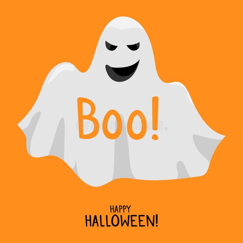 Иллюстрация вектора духа призрака милой улыбки призрака хеллоуина белая Счастливый шаблон карточки хеллоуина иллюстрация вектора