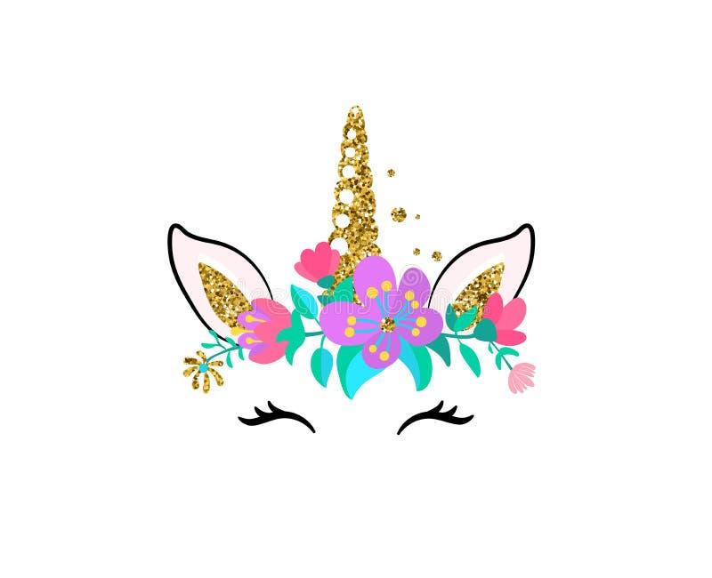 Иллюстрация вектора единорога милая изолированная на белой предпосылке Заплата девушки моды с головой лошади, золотым рожком, уша бесплатная иллюстрация