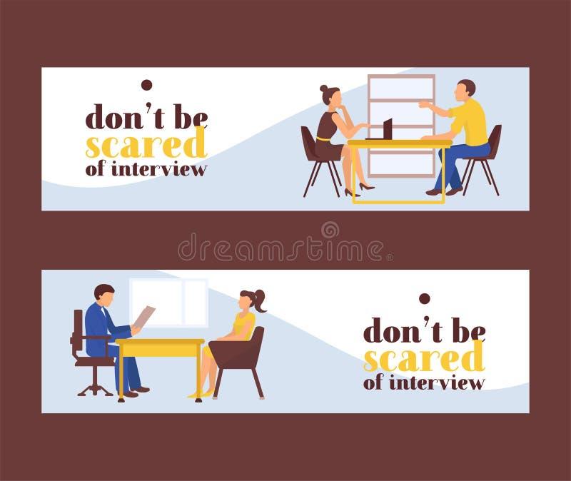 Иллюстрация вектора женщин собеседования для приема на работу Искатель задании и работодатель сидят на таблице и беседе Хорошее в бесплатная иллюстрация