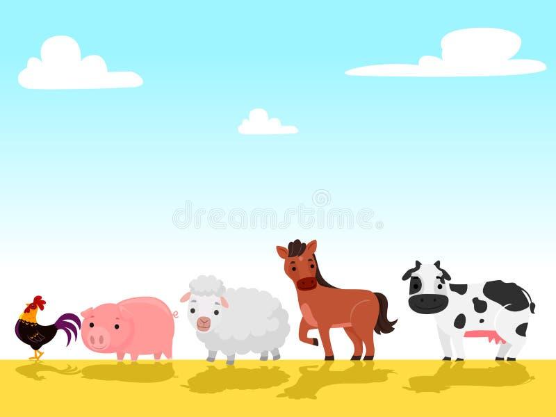 Иллюстрация вектора животноводческих ферм идя в поле фермы иллюстрация штока