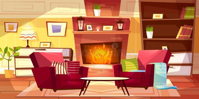 Иллюстрация вектора живущей комнаты внутренняя бесплатная иллюстрация