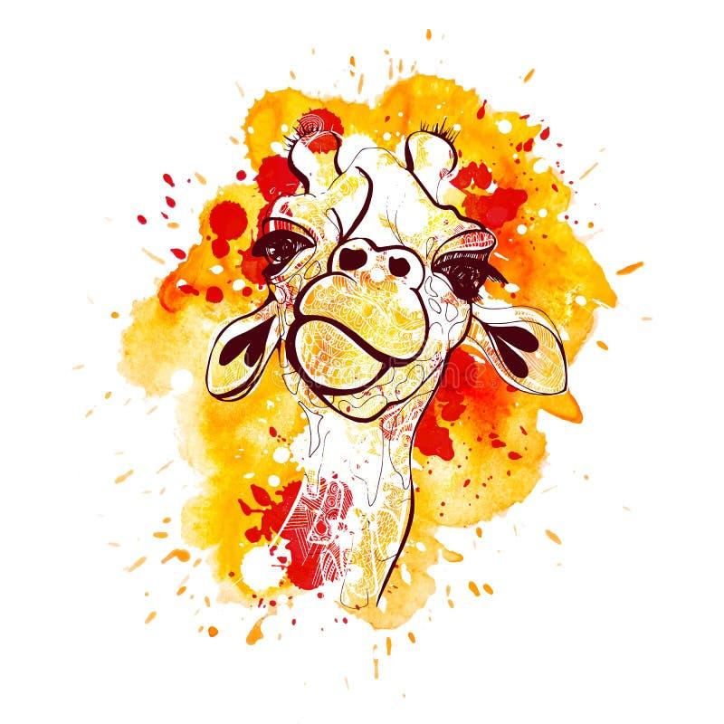 Иллюстрация вектора жирафа для футболки Портрет жирафа сафари с watercolored предпосылкой и брызгает иллюстрация штока