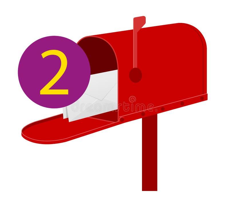 Иллюстрация вектора запаса значка красного почтового ящика ретро винтажная иллюстрация штока