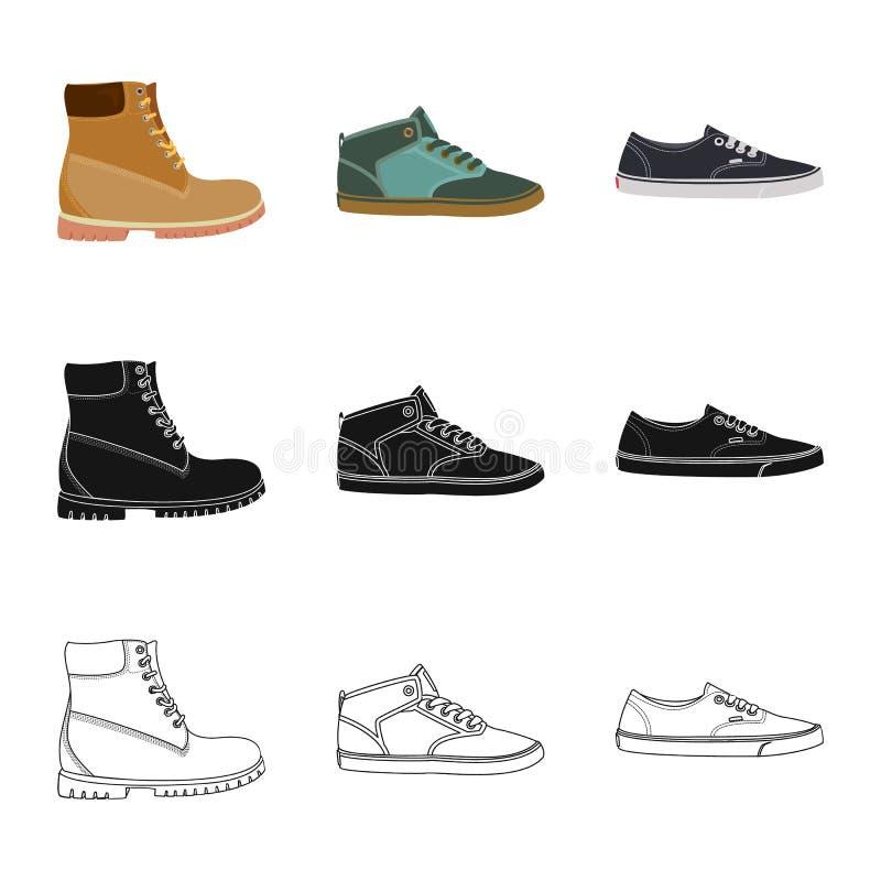 Иллюстрация вектора знака ботинка и обуви Установите значка вектора ботинка и ноги для запаса иллюстрация штока