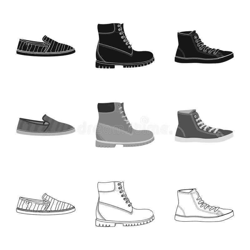 Иллюстрация вектора знака ботинка и обуви o иллюстрация штока