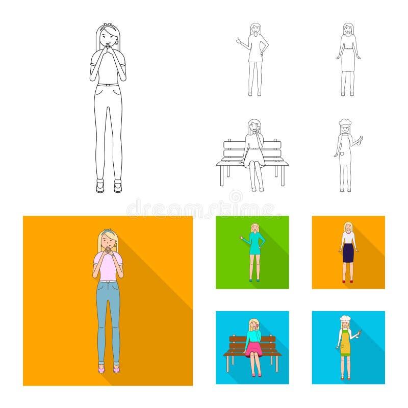 Иллюстрация вектора знака позиции и настроения Собрание позиции и женский значок вектора для запаса иллюстрация штока