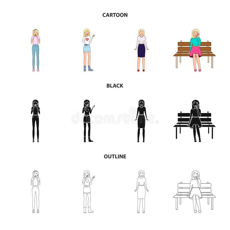 Иллюстрация вектора знака позиции и настроения Собрание позиции и женской иллюстрации вектора запаса иллюстрация вектора