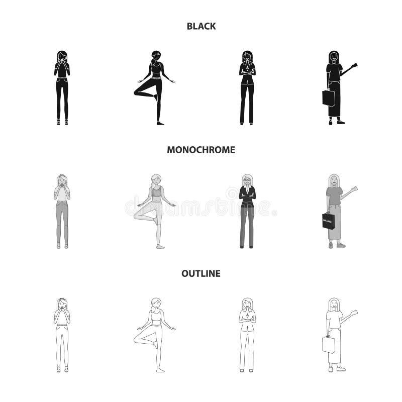 Иллюстрация вектора знака позиции и настроения Установите позиции и женского сокращенного названия выпуска акций для сети бесплатная иллюстрация