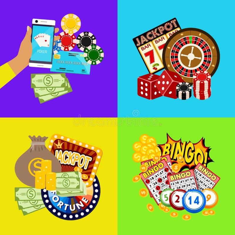 Иллюстрация вектора знамени казино онлайн Включает рулетку, обломоки казино, игральные карты, выигрывая деньги джэкпота Мешок  иллюстрация штока