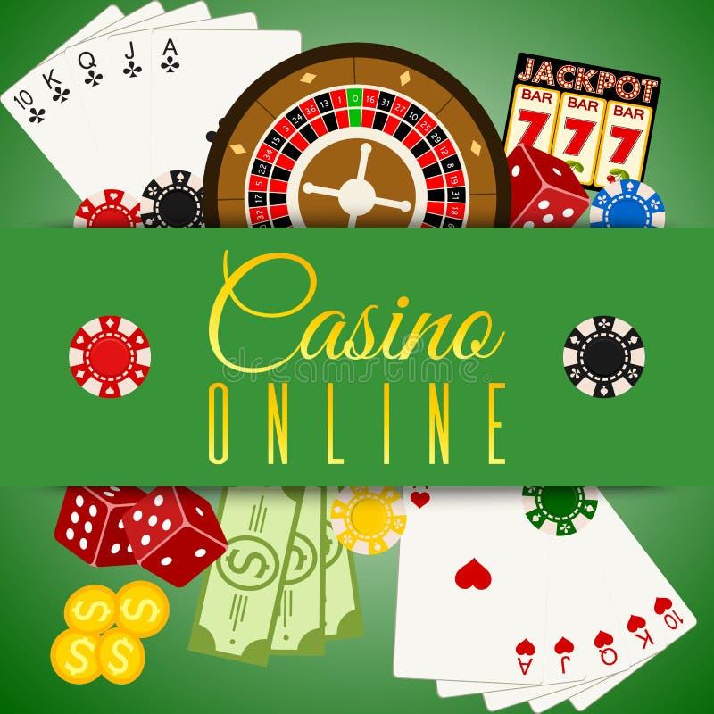 Иллюстрация вектора знамени казино онлайн Включает рулетку, обломоки казино, игральные карты, выигрывая деньги Мешок денег иллюстрация вектора